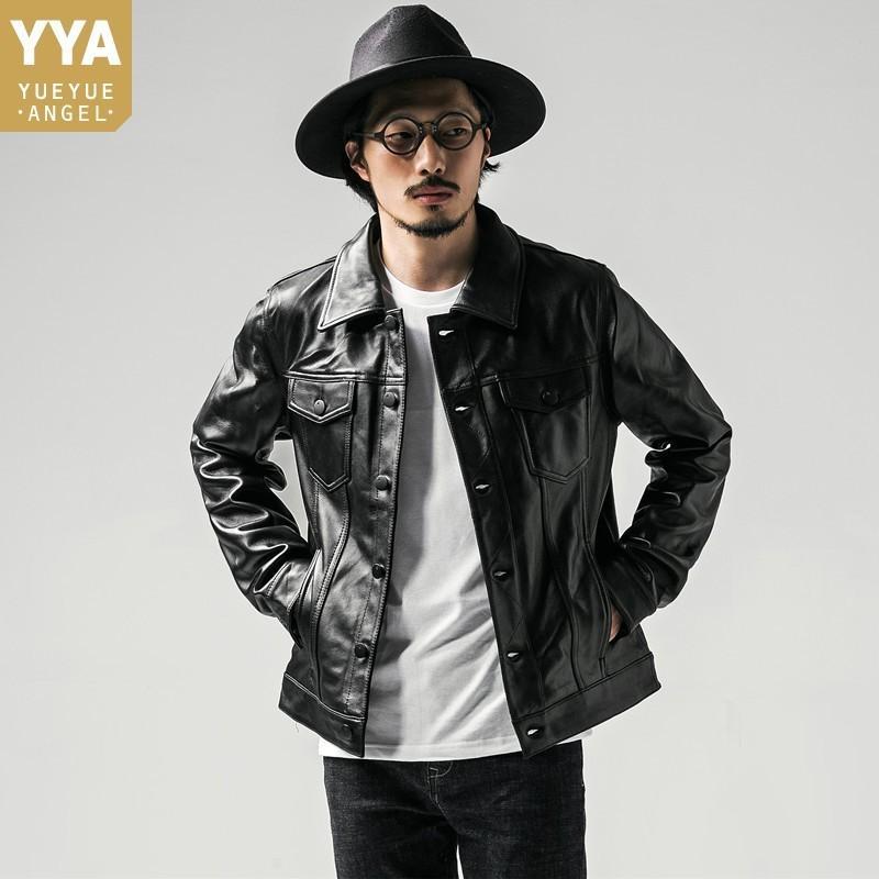 Мужчины марка из натуральной кожи Куртка вскользь тонкий отложной воротник Мото кожаные куртки Роскошный однобортный дубленку