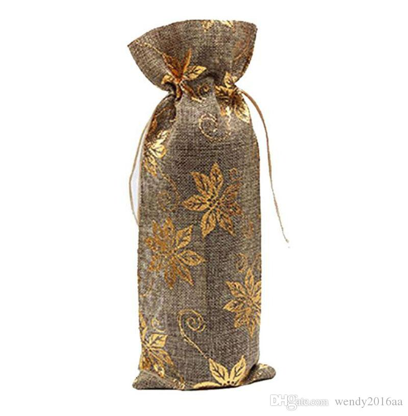 10pcs New gold stamping Jute Wine Bottle Gift Bags burgundy 15*37cm Christmas wine Decorations folding bags Festive supplies