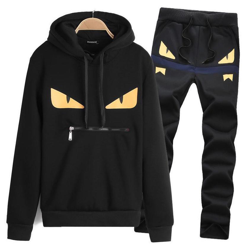 Designer Survêtement Hommes Luxe Survêtement Sport Black 2 Piece Cartoon homme Vêtements Sweat à capuche avec manches longues Pull Plus Size M-3XL