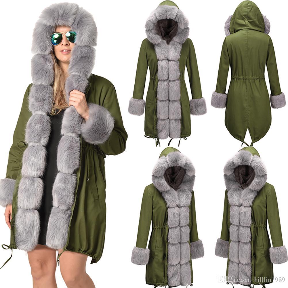 Frauen Winter Streetwear Drei-Viertel-Mantel 30% Winter langen Staubmantel Kunstpelz Kapuzenjacke Größe Damen starke Weihnachten Kleidungsstück