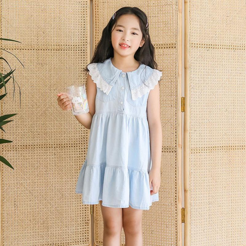 YourSeason 6 için 16 yaşında Kid Kız Yaz Kore Dantel Mavi Denim Elbise Sevimli Prenses Kız Bebek Kısaca Pamuk Mini Elbiseler