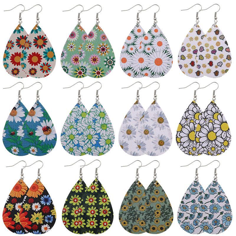 Böhmen Design Gänseblümchen Printed PU-Leder-Ohrringe für Frauen-Mädchen-Mode-Blume baumeln Ohrringe Haken Ohr-Partei Schmuck-Geschenk