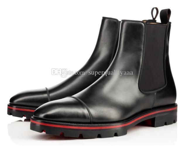 Lüks Tasarımcı Man Bilek Boots Kırmızı Alt Kavun Boots Siyah Dana derisi Kauçuk Lug Sole Erkek Moda Ganimet Ünlü Parti Düğün