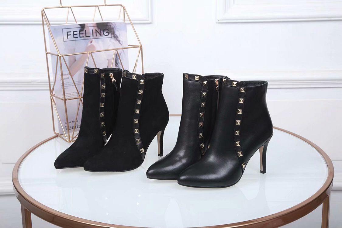 Mujeres corto patea los zapatos de cuero retro del dedo del pie acentuado Botas de tacón zapatos antideslizantes tubo corto del tobillo