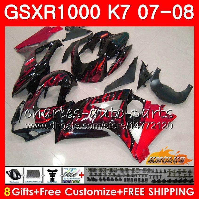Bodywork für Suzuki GSXR-1000 GSXR1000 2007 2008 07 08 Bodys 12HC.2 GSX R1000 GSX-R1000 K7 GSXR 1000 07 08 ABS Red Flames Hot Fairing Kit