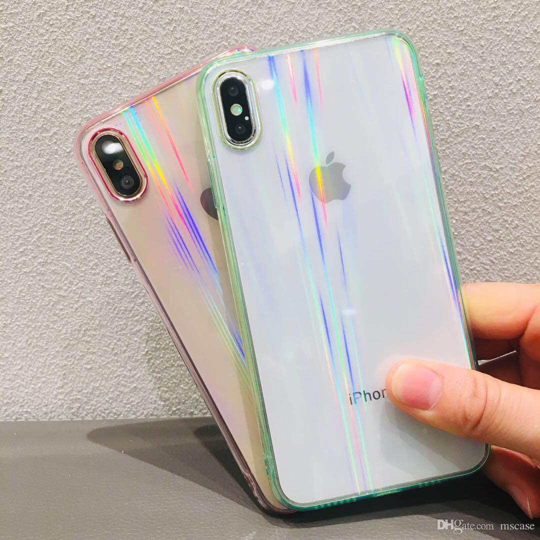 Für iphone 6 7 8 9 Plus XS maximales XR Laser-buntes transparentes Glas 9H rückseitige Abdeckungs-Fall-Tasche mit dem Kamera-Schutz Einzelverkauf