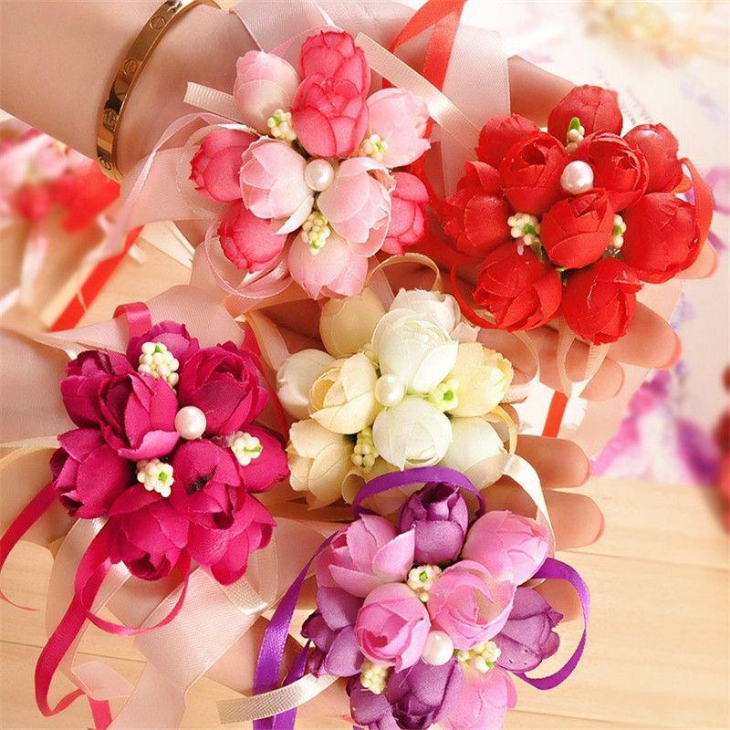 6 Cores Festa de Casamento Nupcial Prom Wrist Corsage Dama de Honra Irmãs flores da mão Flores Do Casamento Festa de Casamento cyq0074