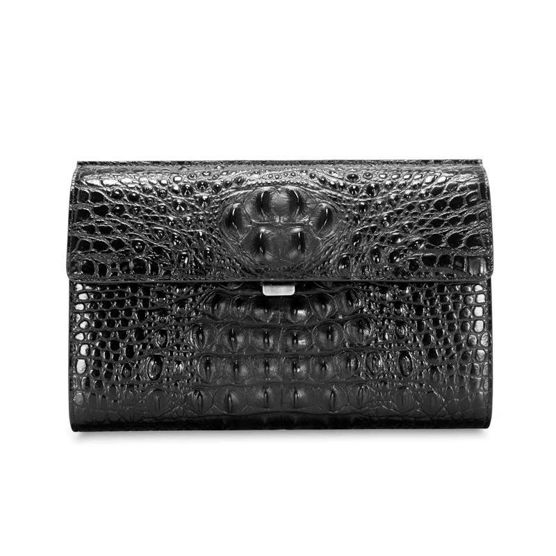 Leather crocodile pattern envelope bag men's business casual multi-function clutch bag