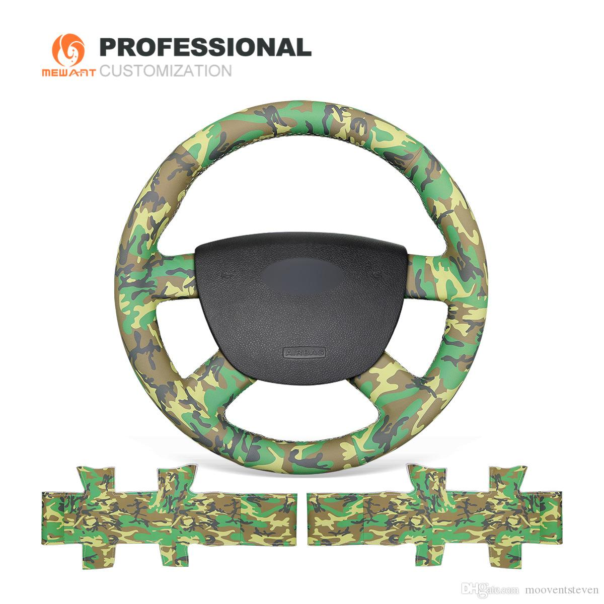 MEWANT Camouflage Artificial Leather Car Steering Wheel Cover for Ford Kuga 2008-2011 Focus 2 2005-2011 C-MAX 2007-2010 Transit 2010