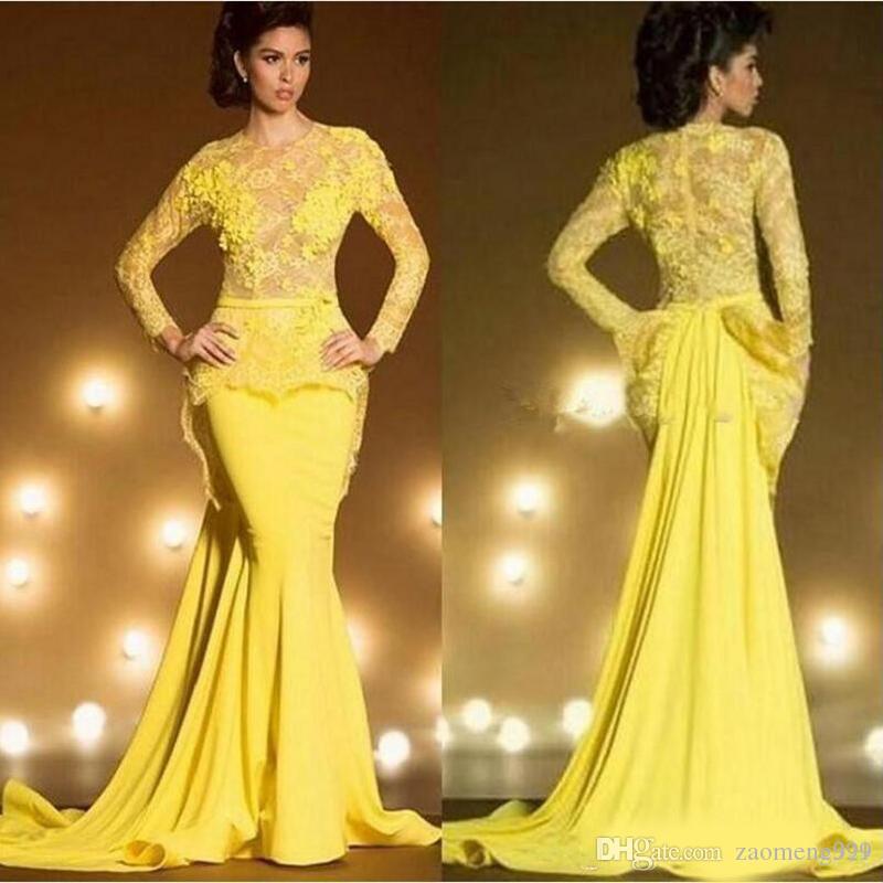 Arabia Saudí Dubai sirena vestidos de noche 2020 amarillo atractivo formal Prom Vestidos Kaftan de encaje de manga larga bata de soiree
