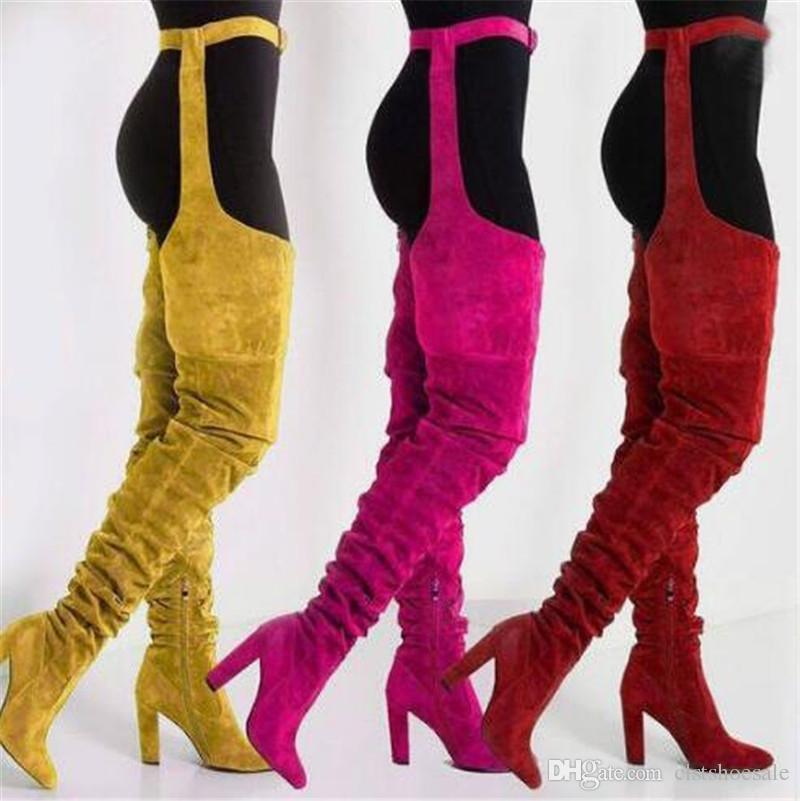 Kadınlar Seksi Moda Sivri Burun Süet Deri Bel Uzun Tıknaz Topuk Çizmeler Uyluk Kalın Yüksek Topuk Çizmeler Parti Ayakkabı Üzerinde Toka