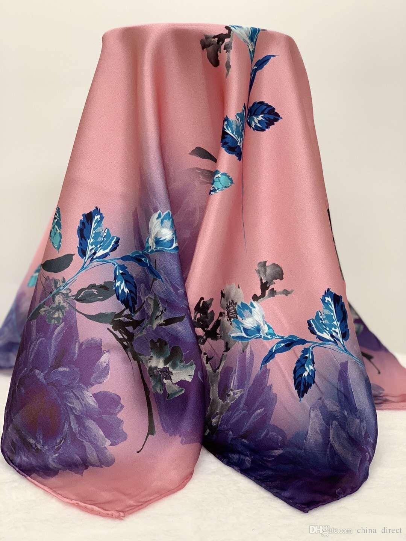 FASHION FLORAL SQUARE 100% Echte Maulbeereseidenschal Silk Satin Neckerchiefs Werksverkauf 10 Stück / Los # 4097