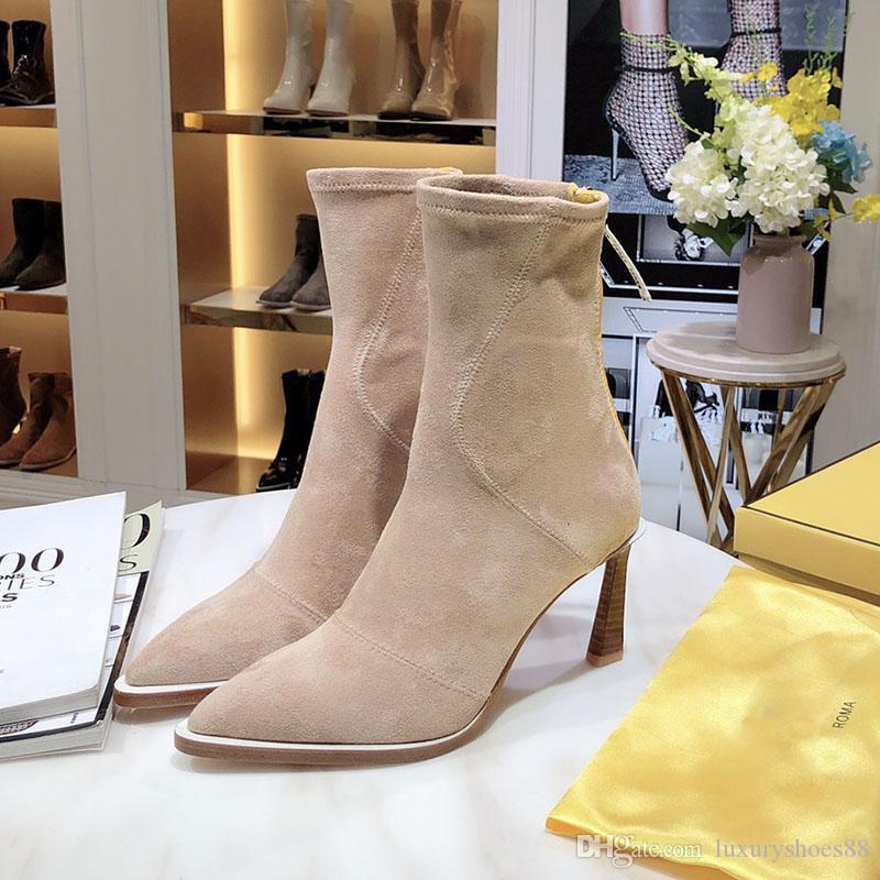 İnce topuk 8.5 cm Rugan Martin'in bootss bayanlar kış botları savaş botları Boyut 35-40 ile yeni kadınlar için moda lüks tasarımcı çizmeler