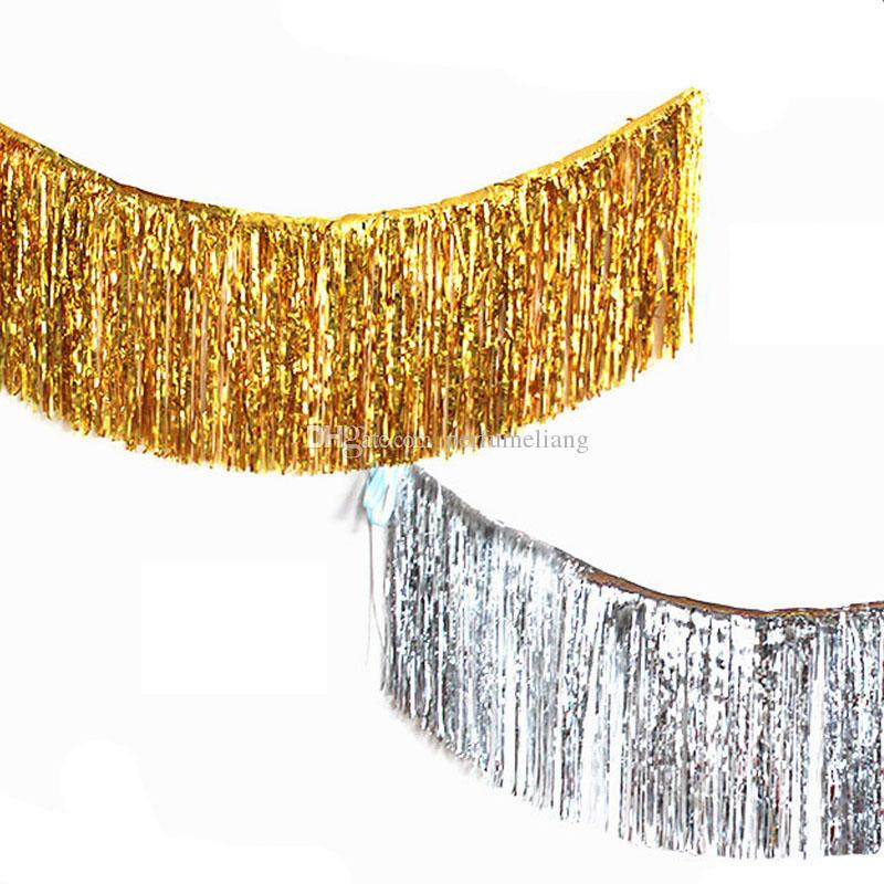 35*120cm Metallic Foil Fringe Shiny Gold Silver Curtains Wall Decoration Wedding Decor Photography Background Supplies QW9359