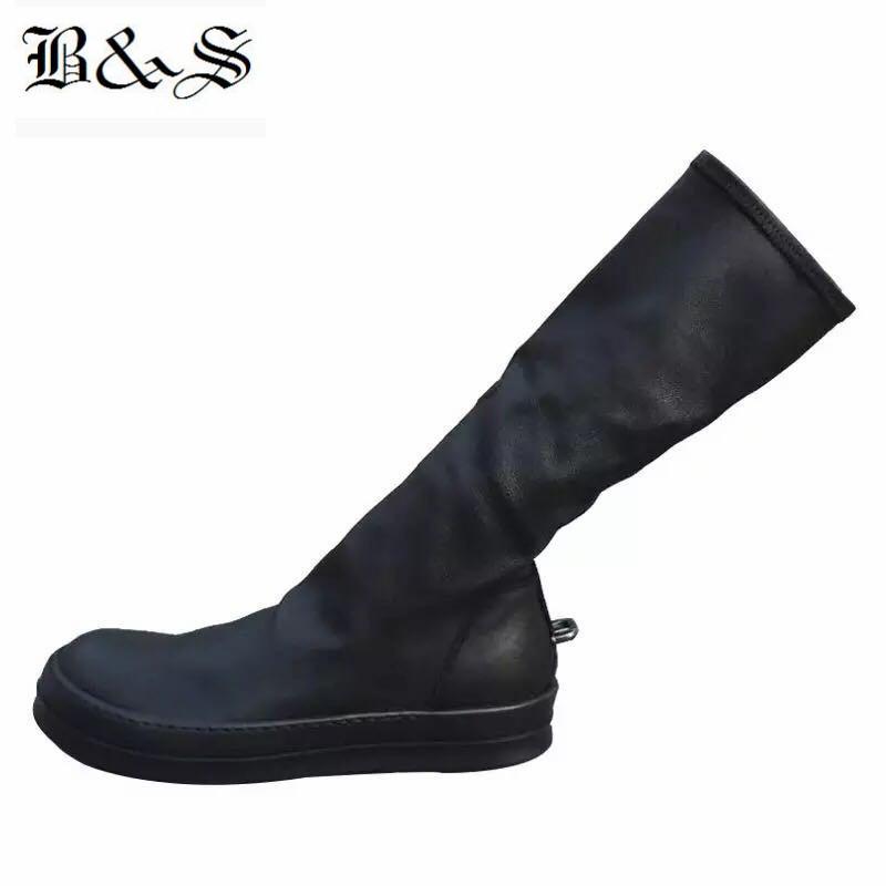 Black Street 2018 Женщины Street Punk Rock Железный крюк из натуральной кожи + эластичная ткань высокого 38см Носок сапоги качества Boots