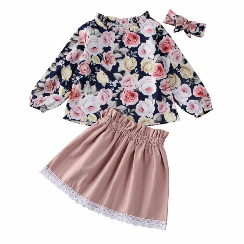 UK Toddler Baby Girl Flower Clothes Tops Blouse Lace Mini Skirt 3PCS Outfits Set