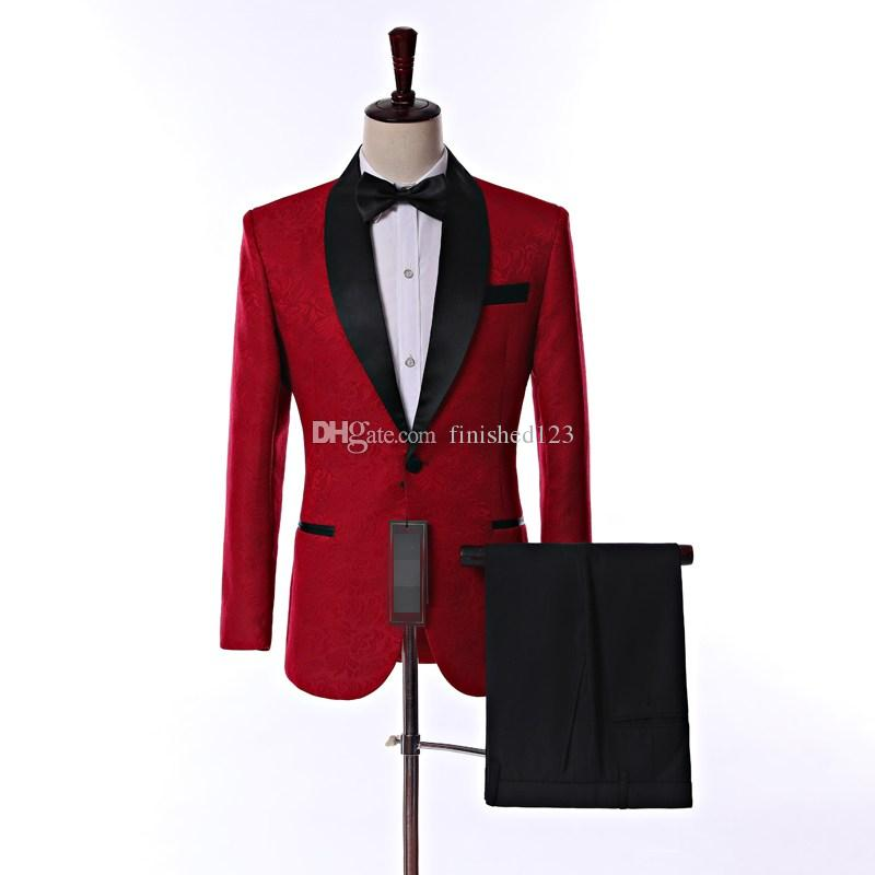 Real Picture Side Vent One Button Red Paisley Groom Tuxedos Shawl Lapel Groomsmen Wedding Men Party Suits (Jacket+Pants+Tie) W4