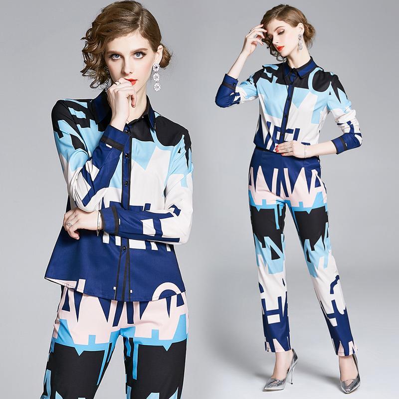 Дизайнер двухкусочный 2020 Женская мода наборы Письмо печати Рубашки с длинным рукавом + Длинные брюки 2 шт Плюс Размер Тонкий дамы Runway из двух частей Брюки