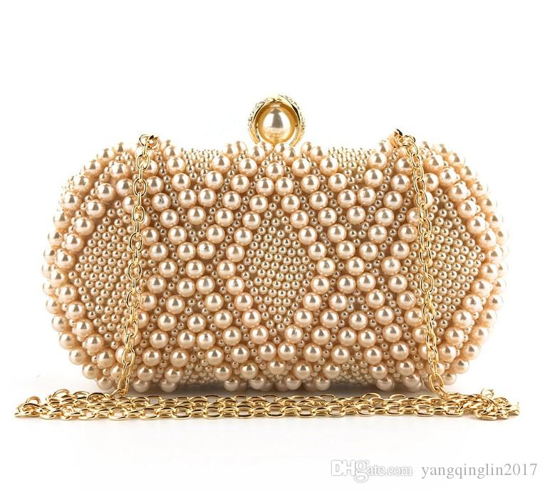 Handmade beaded fashion ladies pearl Evening Package bag Ling type clutch bag Purse Evening luxury Bridal clutch purse bag