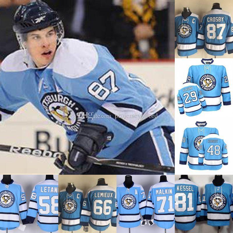 Pittsburgh Penguins Blue Jersey Marc-Andre Fleury Kristang Mario Lemieux Evgeni Malkin Phil Kessel Crosby Crosby Tyler Kennedy