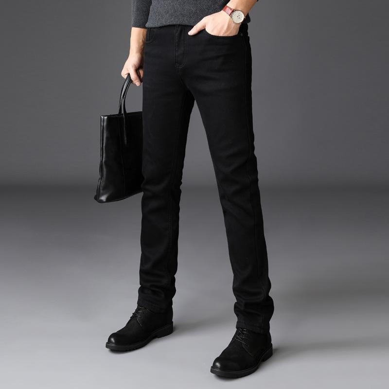 봄 가을 패션 남자 청바지 빈티지 간단한 pantalon 블랙 컬러 슬림 맞는 캐주얼 비즈니스 바지 탄성 클래식 청바지 옴므