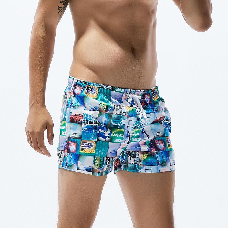 Mens Polyester Board Shorts Men Swim Shorts Swimwear Scenery Printed Dry Surfing Shorts Elastic Waist Swimsuit Maldives Beach Wear Style