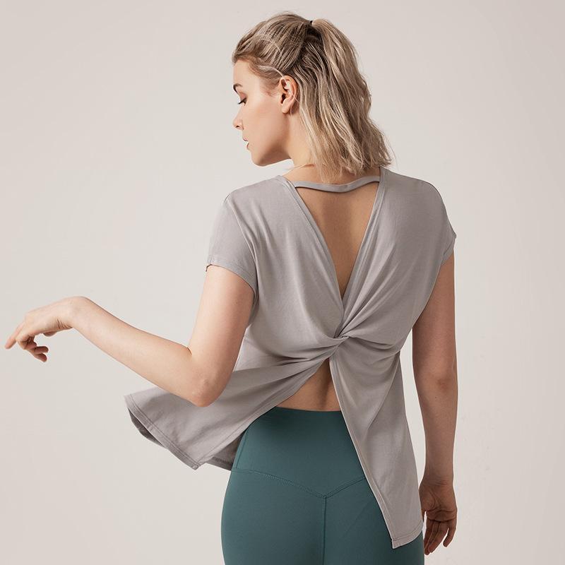 New desserrées Séchage rapide fitness Vêtements pour femmes Top sports Course à pied beaux vêtements de yoga Retour sexy fendus manches courtes femmes