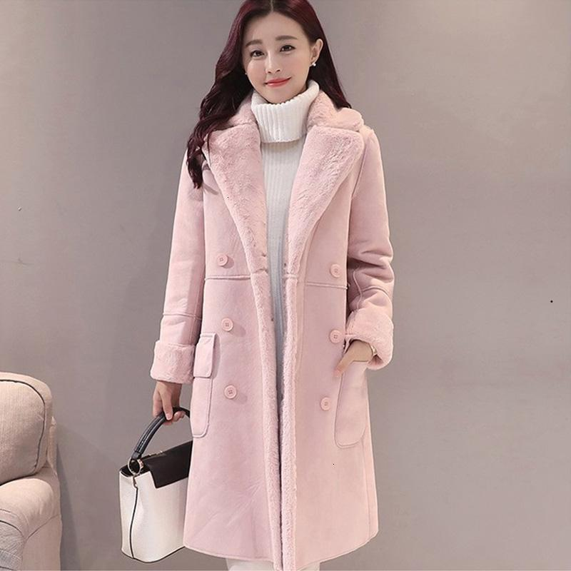 Frauen Wildleder-Pelz-Mantel starke warme Faux Lammfell Long Jacket Female Overcoat 2019 Winter Fashion Fest Trench Coats Tropfen ShippingMX190907