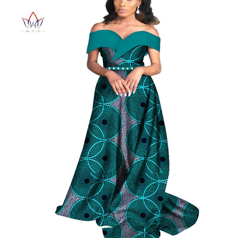 Лето 2019 африканские платья для женщин Базен с плеча платье партии Dashiki элегантный длинное платье для женщин WY4565