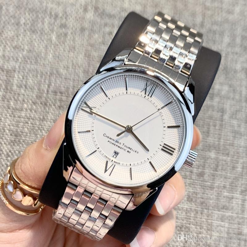 2019 Klasik En kaliteli Moda tarih takvim paslanmaz çelik Lüks güzel erkek saat Elbise rahat Saatler popüler adam kol saati izlemek