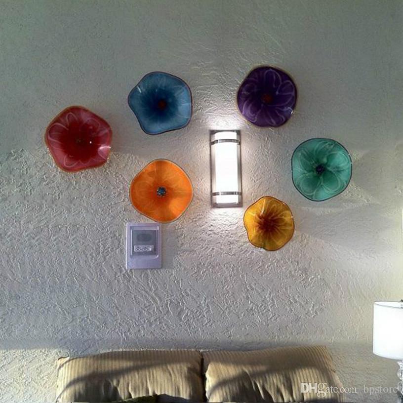 Las placas barato Resumen de pared de vidrio Artes de berlina italiana Murano Flor Luz de pared para la decoración del hogar de color que cuelgan placas Wall Art