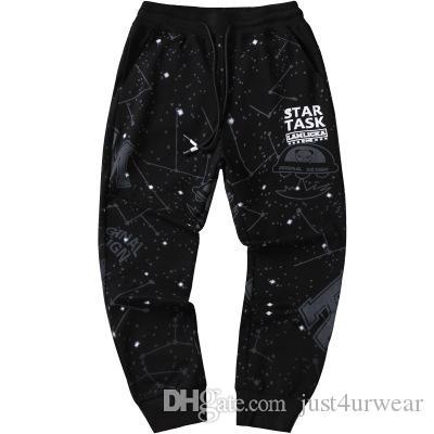 Les hommes occasionnels Starry Sky Pants desserrées des sports d'été longues Pantalons Saisons Mode Pancil Pantalons Vêtements Homme Imprimer