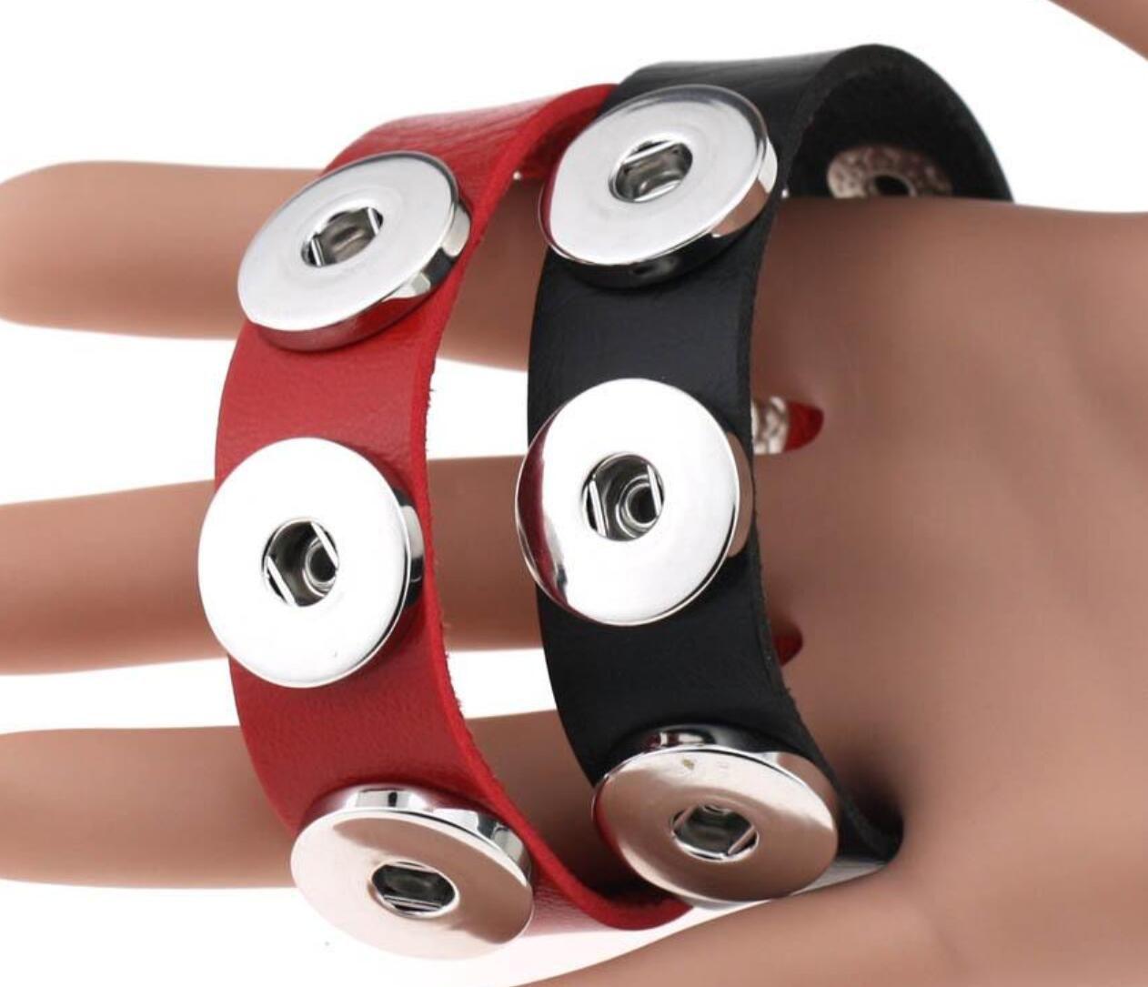 여성 18mm 스냅 버튼 보석 스냅 버튼 BraceletBangles 14 색 고품질 PU 가죽 팔찌
