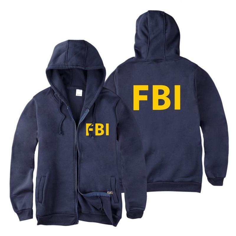 Moda Cremallera Hombres mujeres Sudaderas con capucha Sudaderas con estampado del FBI hip hop deportivo Casual Zip Up Unisex Sudadera con capucha de manga larga chaqueta top 4XL SH190905