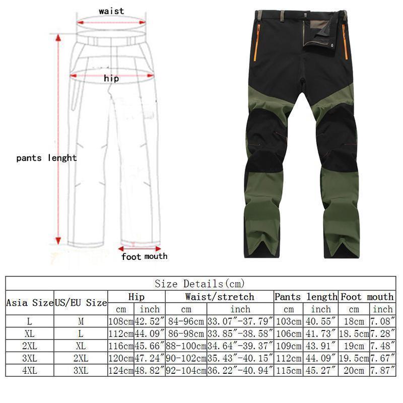 Brand New Art und Weise heißes Outdoor Wandern Männer Warm dünne Hose Patchwork windundurchlässige wasserdichte lange Hosen