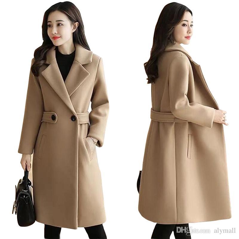 Winterkleidung Wollmantel Gürtel dünne Frauen Mantel koreanischen Herbst Weiblicher Wollmantel Mode zweireihige Jacke elegante Mischung