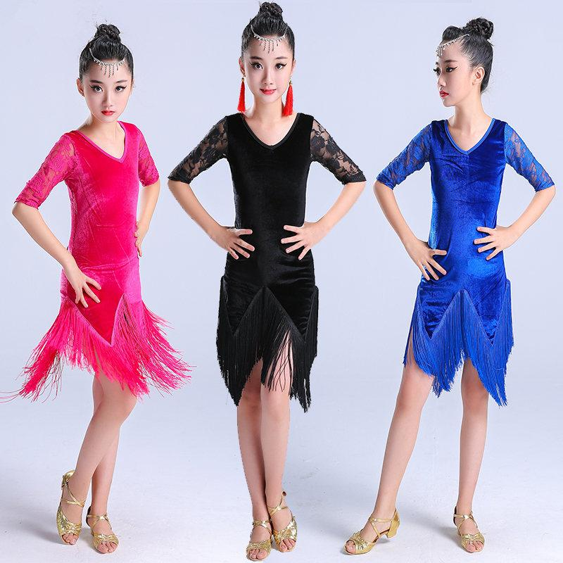 술 여성용 라틴 댄스 드레스 라틴 살사 어린이 볼룸 스커트 드레스 samba tango cha cha kids 벨벳 프린지 의상