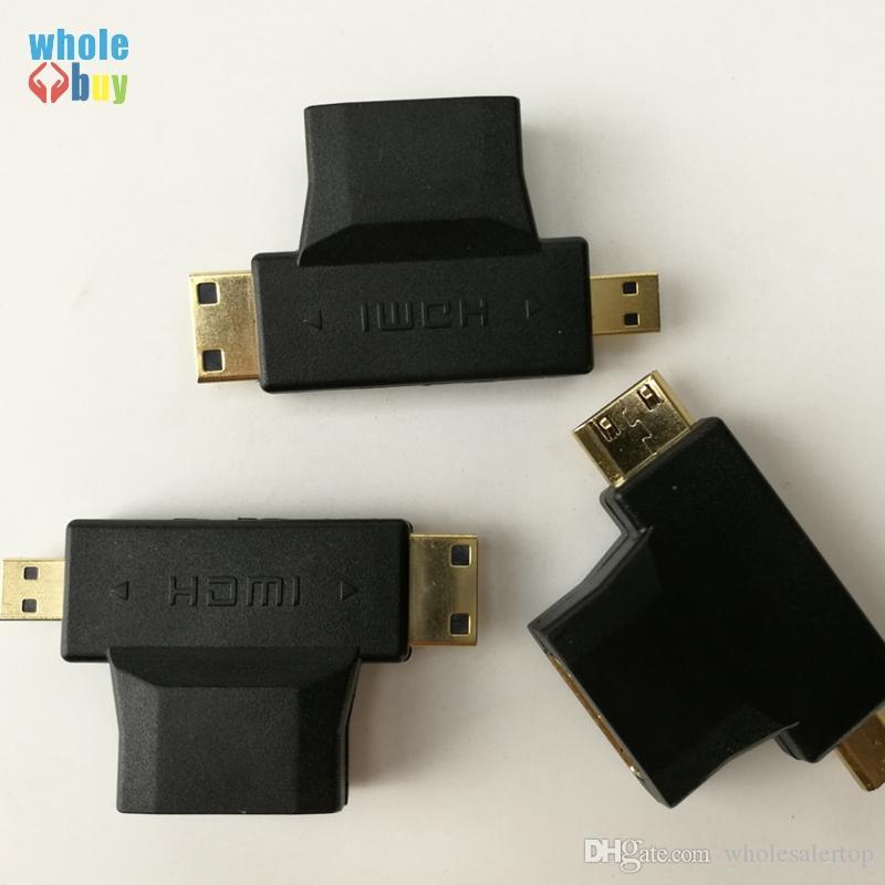 3 in 1 HDMI Female to Mini HDMI Male Micro HDMI Male Adapter Connector Black