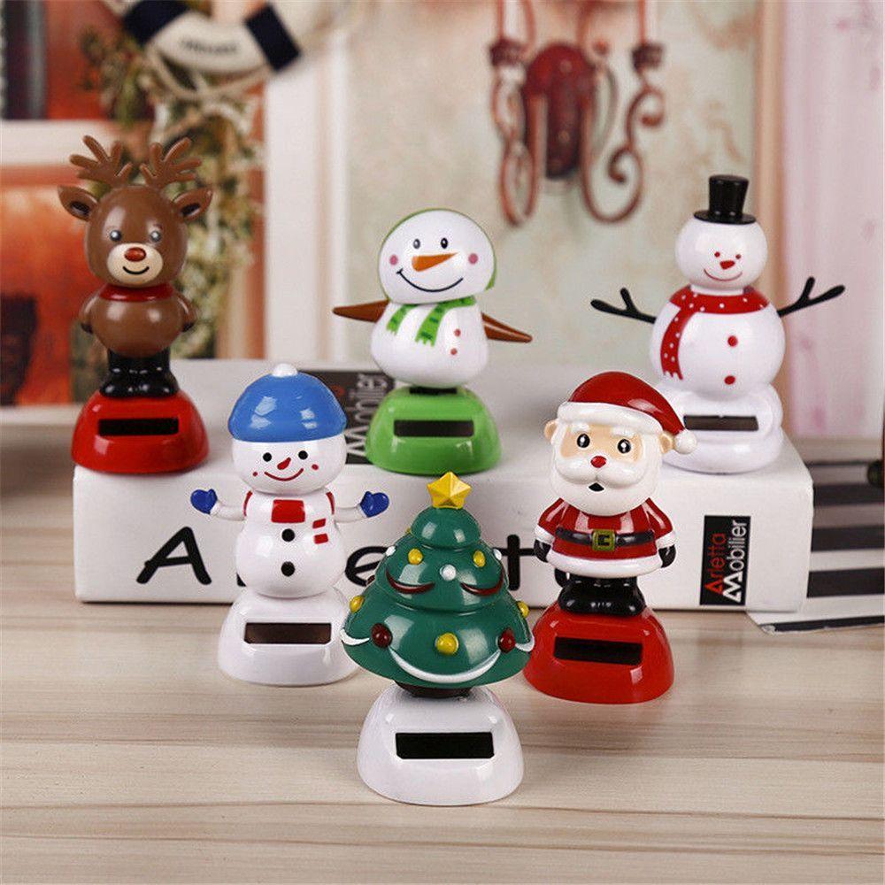 Christmas Themed Solar Powered Dancing Santa Claus Swinging Bobble Novelty Toys Car Decor Dancing Solar Toy Kids Christmas Gift