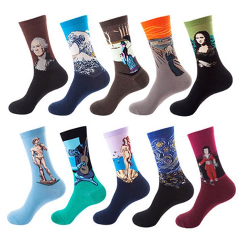 des femmes de l'art imprimé 3d hommes coton Harajuku style de la célèbre peinture van Gogh Mona Lisa da Vinci drôle chaussettes Vintage