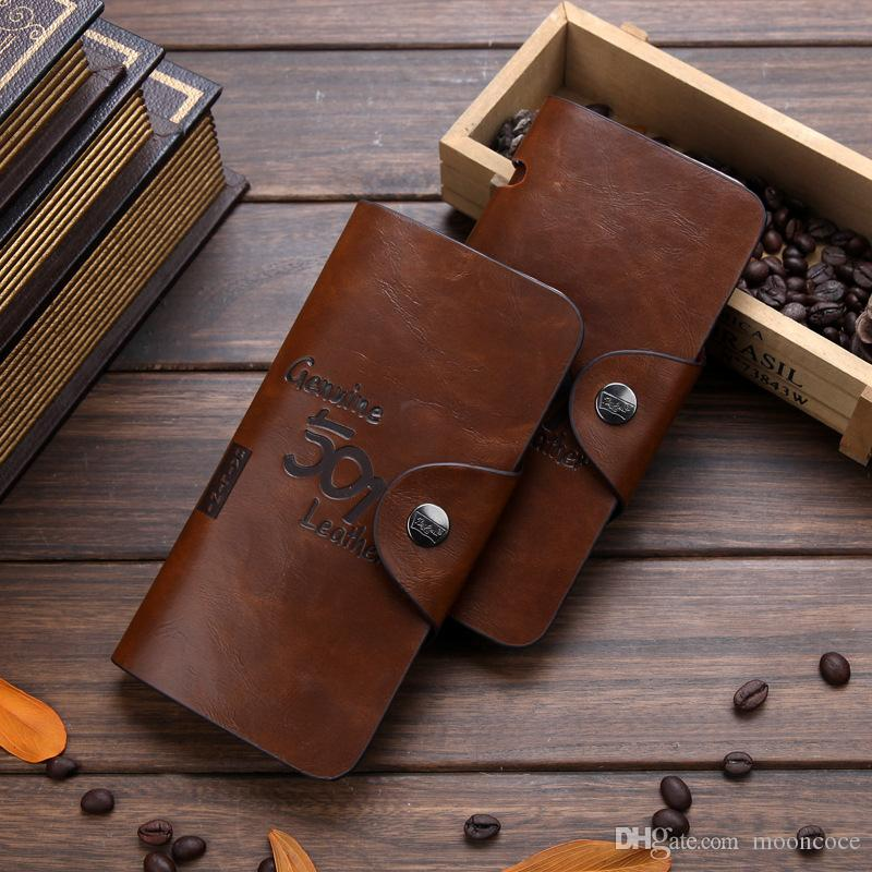 Heiße Mappe der Männer nehmen für Vintage-Leder-Mappen Dünne männliche porte feuille billetera Herren Geldbörse Geld carteira masculina