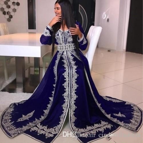 Арабский мусульманин с длинным рукавом вечерние платья V-образным вырезом хрустальные бусины кружева аппликация абая кафтан гламурный дубайский атлас длина дола платье выпускного вечера