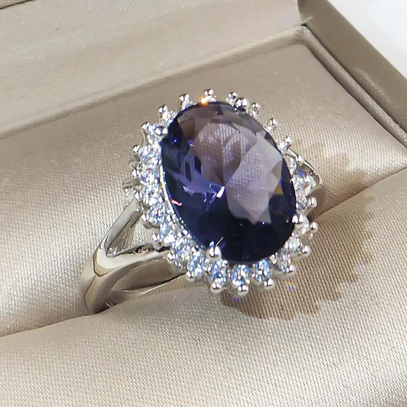 Vintage Zircon Wedding Blue Fashion Big Stone Jewelry Crystal Ring Rings