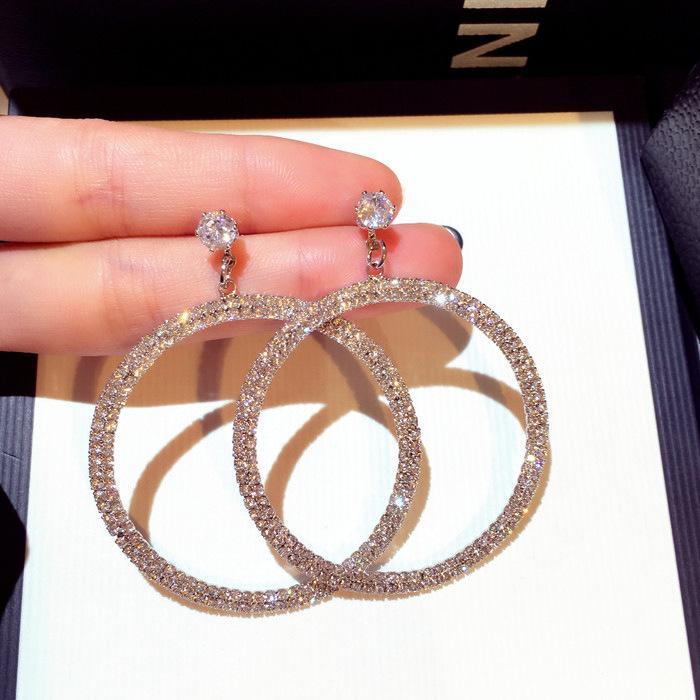 여성 여자 골드 실버 도매 핫 패션 귀여운 디자이너 슈퍼 빛나는 다이아몬드 크리스탈 큰 원형 스터드 귀걸이