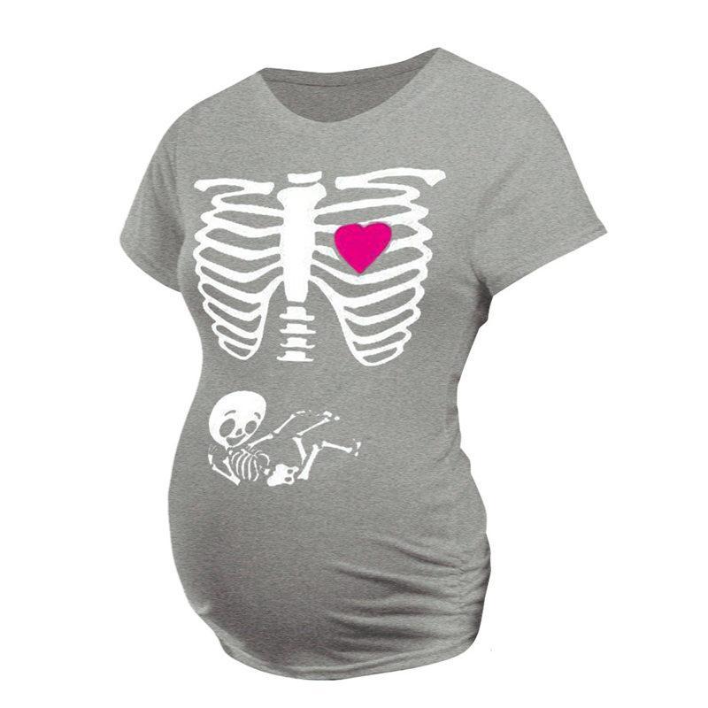 2020 camiseta del verano para las mujeres de maternidad de impresión encabeza bebé embarazada vestido negro de flores de algodón con cuello corto 0 Casual Ropa de Halloween