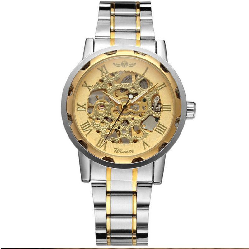 section montre mécanique creuse sa marque de mode de promotion de Noël hommes gagnant montre simple ceinture en acier d'or l'ambiance décontractée d'affaires