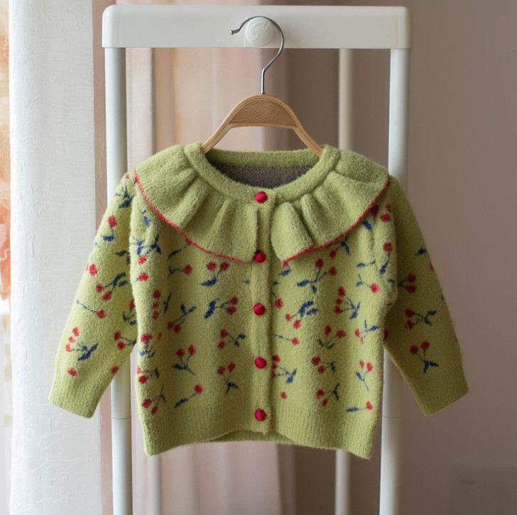 2019 fall baby girls falbala lapel long sleeve outwear Girls cardigan Autumn Cute cherry knitted Kids sweater children princess tops