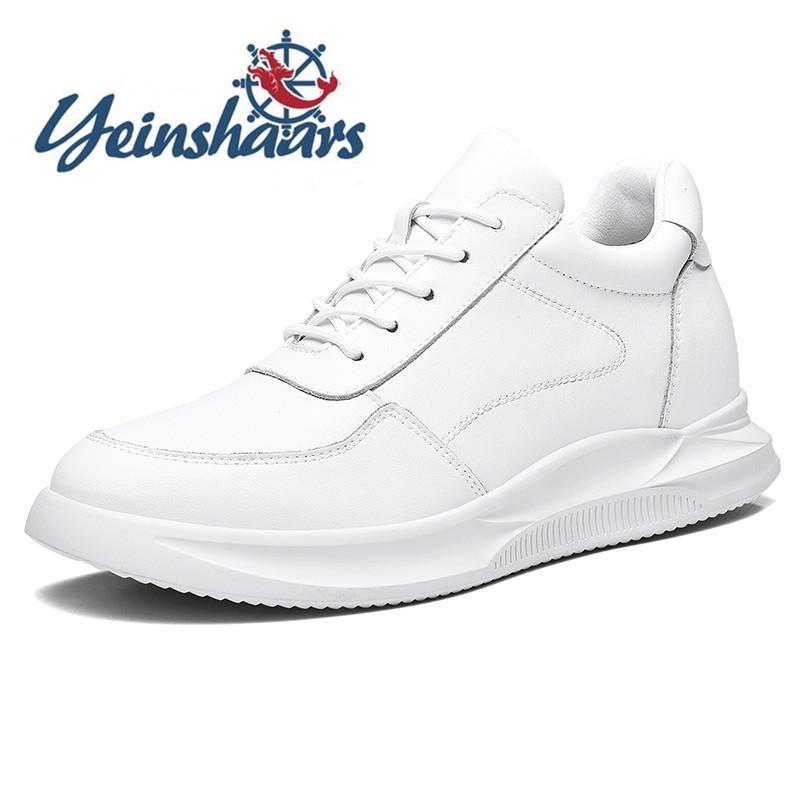 2020 Men Casual Naturleder Boots Lace-up Solide Leichte atmungsaktive Mode Schuhe Klassisches Schwarz-weißen Schuhe Sneakers
