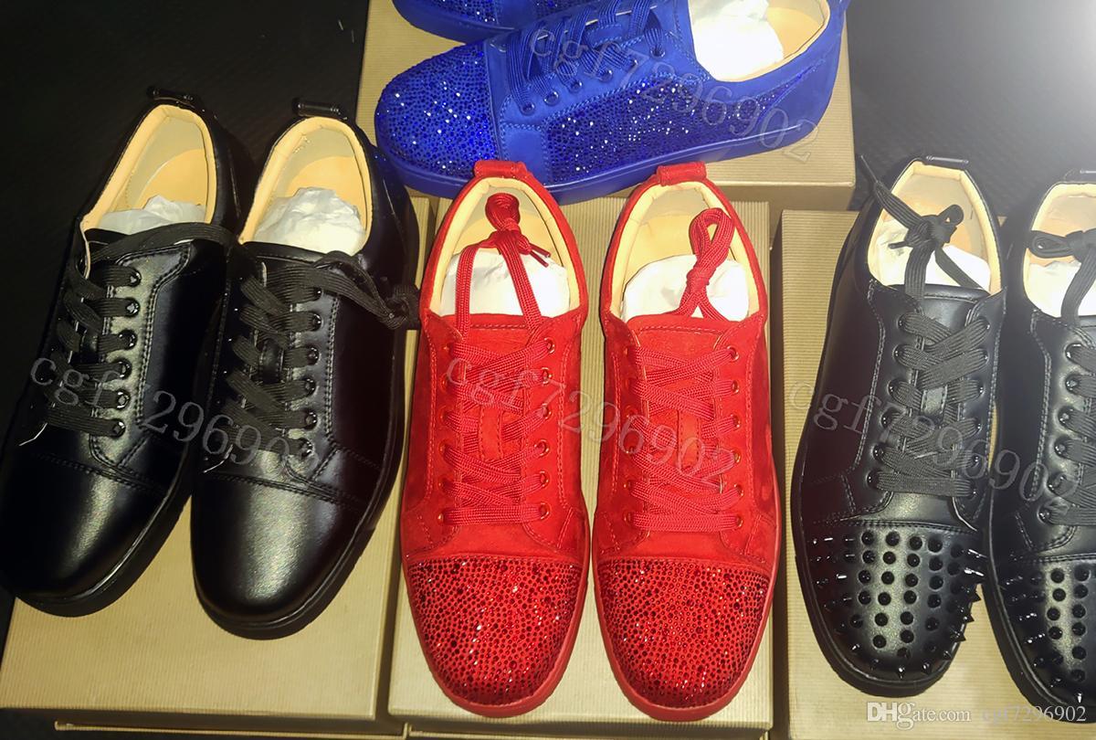 NUOVI 2019 scarpe da tennis di marca Red Shoe inferiore taglio basso in pelle scamosciata picco di lusso scarpe per uomini e donne di nozze pattino del partito Abito scarpe di cristallo di cuoio