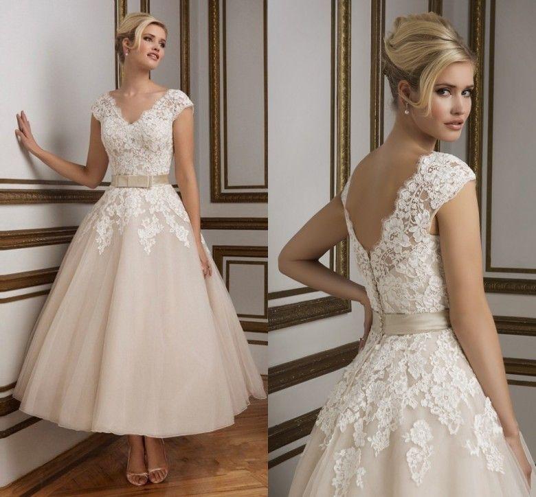 Comprimento de Tornozelo de champanhe Vestidos de Casamento Rendas Applique Vestido Cap Mangas Vestido de Noiva Curto Curto Vestidos de Noiva 2019